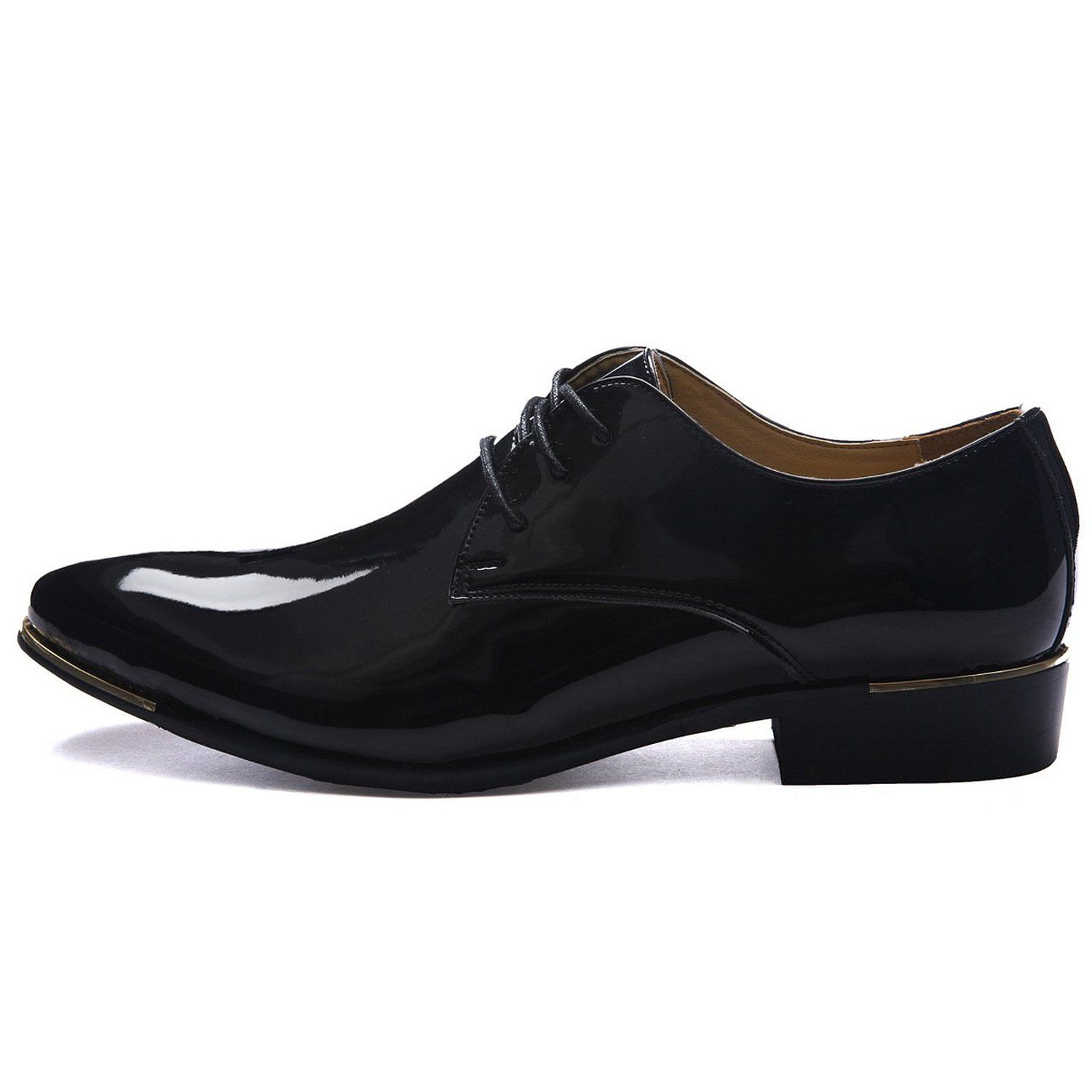 ed29d79672f15 Z-joyee Mens Patent Leather Tuxedo Dress Shoes Lace up pointed Toe ...