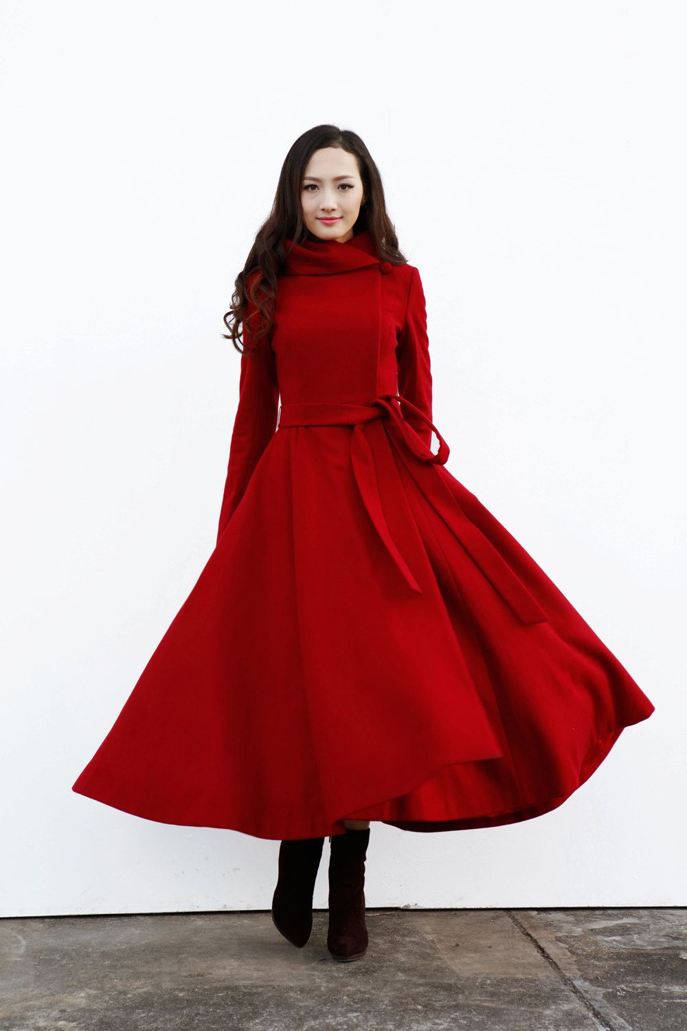 Wine red hooded maxi coat long wool coat with by sophiaclothing