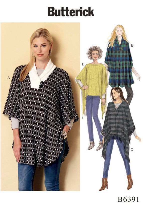 Stretch Knit Poncho Pattern Butterick Sewing Pattern By Blue510
