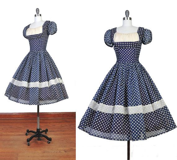 Vintage 1950s SHELFBUST Organza Navy White Swiss by NovaVintage, $268.00