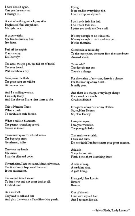 sylvia plaths lady lazarus Lady lazarus, a poem that plath wrote in 1962 not long before her death, is one of the most amazingly tortured and beautiful and powerful poems of all time (really, we are not exaggerating), and it comes directly out of plath's angst.