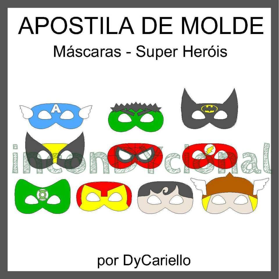 Apostila digital com molde de máscaras de super heróis [Conforme ...