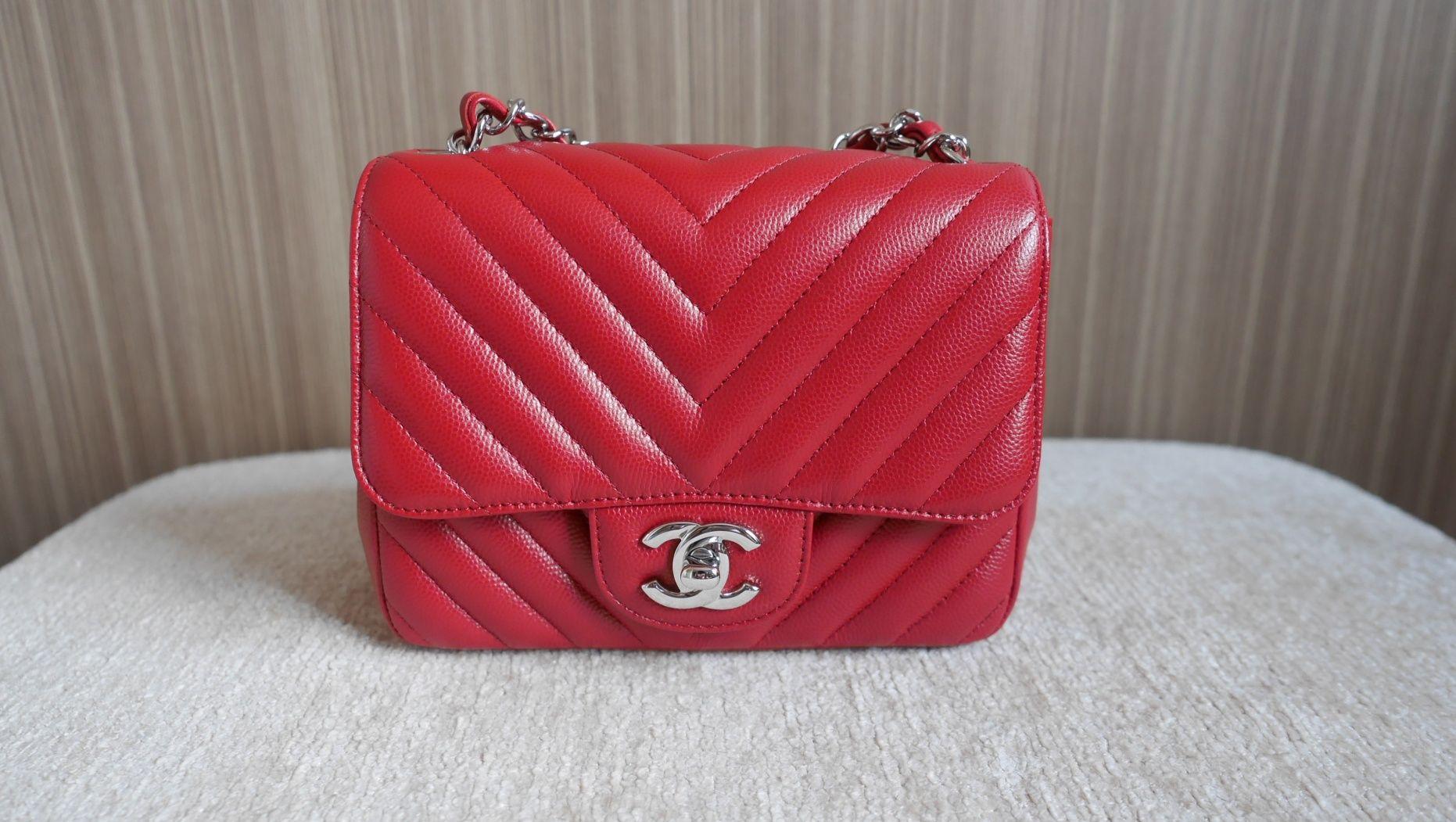 0a713fe34f2c Chanel Mini Square in Chevron Caviar with Silver Hardware | Bags and ...