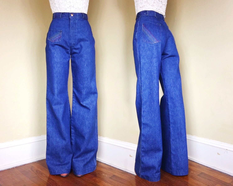 70s Dark Wash Jeans w/ Yellow Stitching- Wide Leg / Bell Bottoms- Men's 30 / 34- Hippie Festival Disco High Waist c6u7iqx