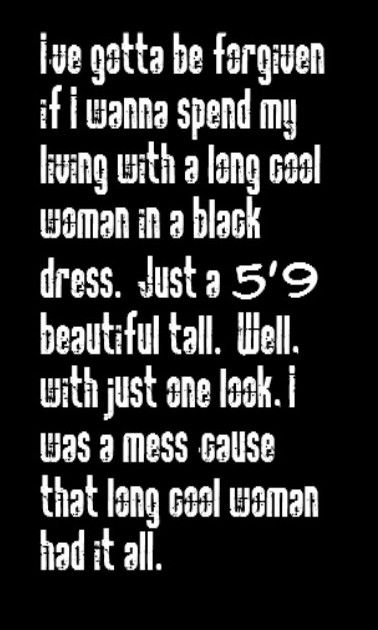 The Hollies Long Cool Woman In A Black Dress Song Lyrics Music