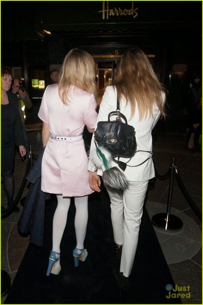 Cara Delevingne & Suki Waterhouse leaving the Karl Lagerfeld store and fragrance launch party in London, England