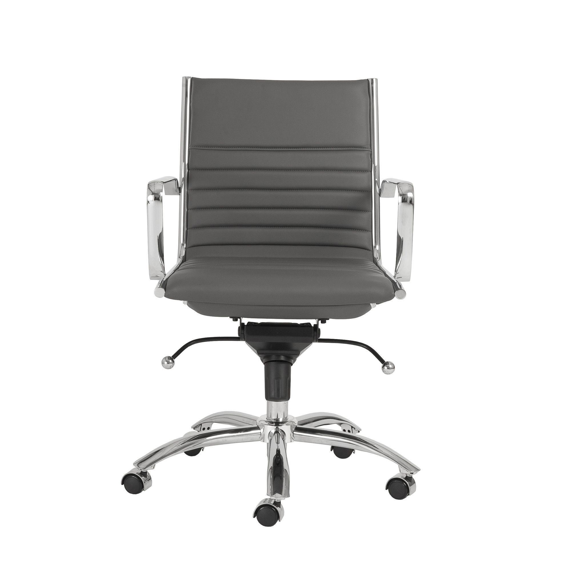 Dirk Low Back Office Chair in Gray with Chromed Steel Base