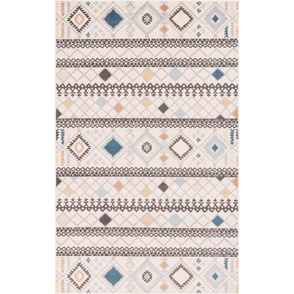 Unique Loom Ivory Tribal Outdoor Oasis 5 0 X 8 0 Area Rug Gray Ivory Blue Pink Unique Loom Rugs Area Rugs