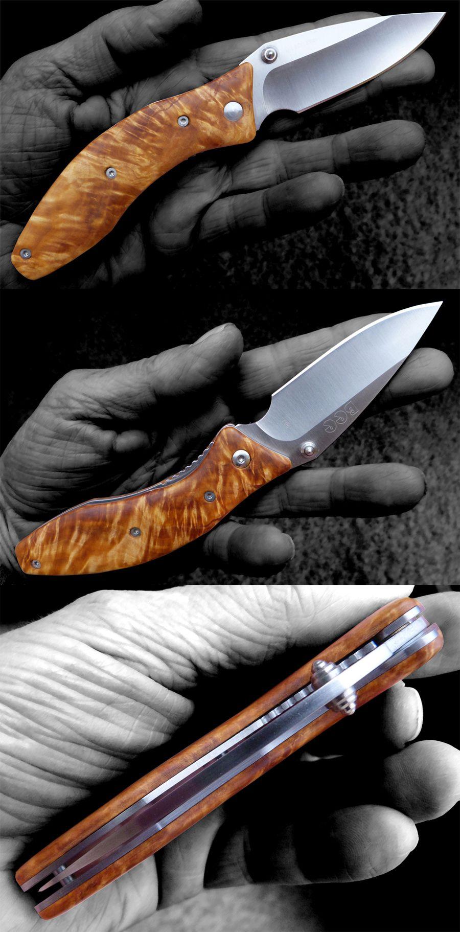 Pimped Enlan L06 folding knife with new scales / handle in birch burl. #enlan, #foldingknife #folder #birchburl