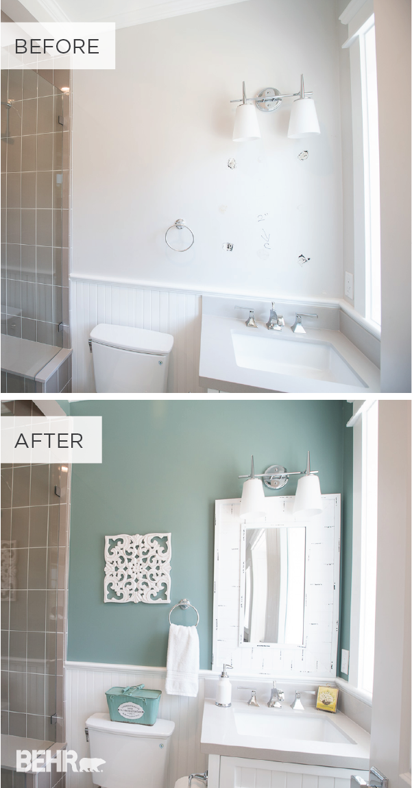 Studio Bathroom Reveal With In The Moment From Behr Diy Bathroom Makeover Small Bathroom Paint Diy Bathroom Decor