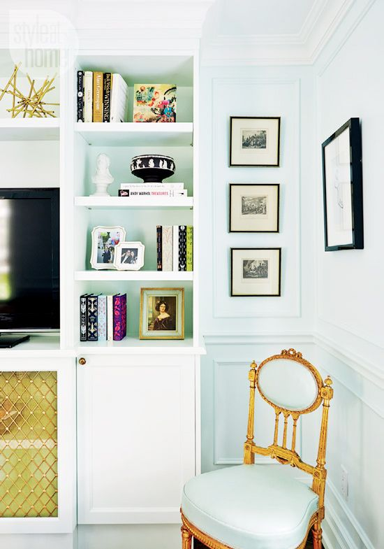 Tour a Design Editor's Own Bold Digs// mint and gold, bookcase, molding