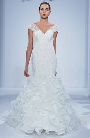 Dennis Basso - V-Neck Mermaid Gown in Lace | Wedding Dresses ...