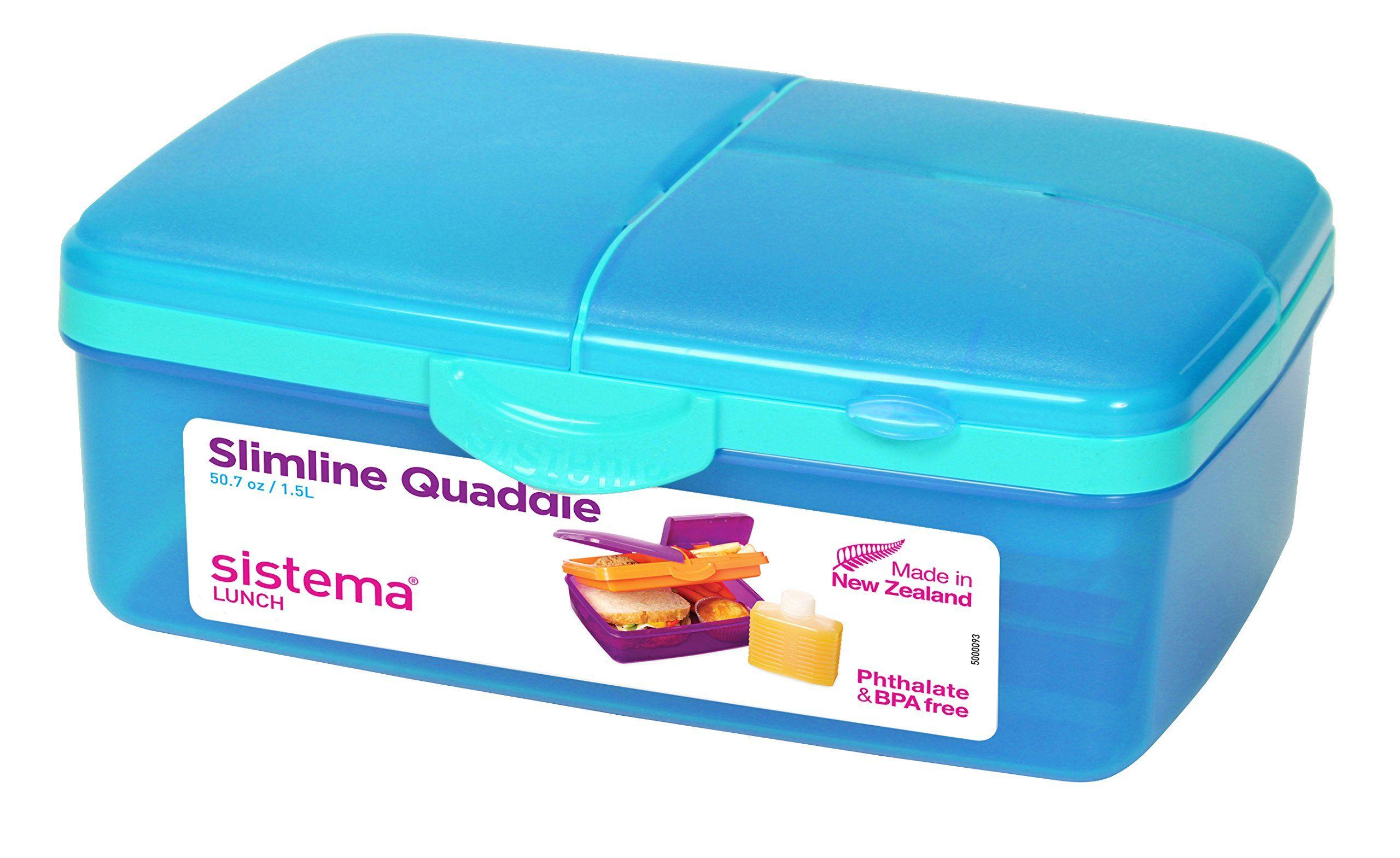 Sistema Lunch Slimline Quaddie Lunchbox with Bottle, 1.5 L, Pink ...