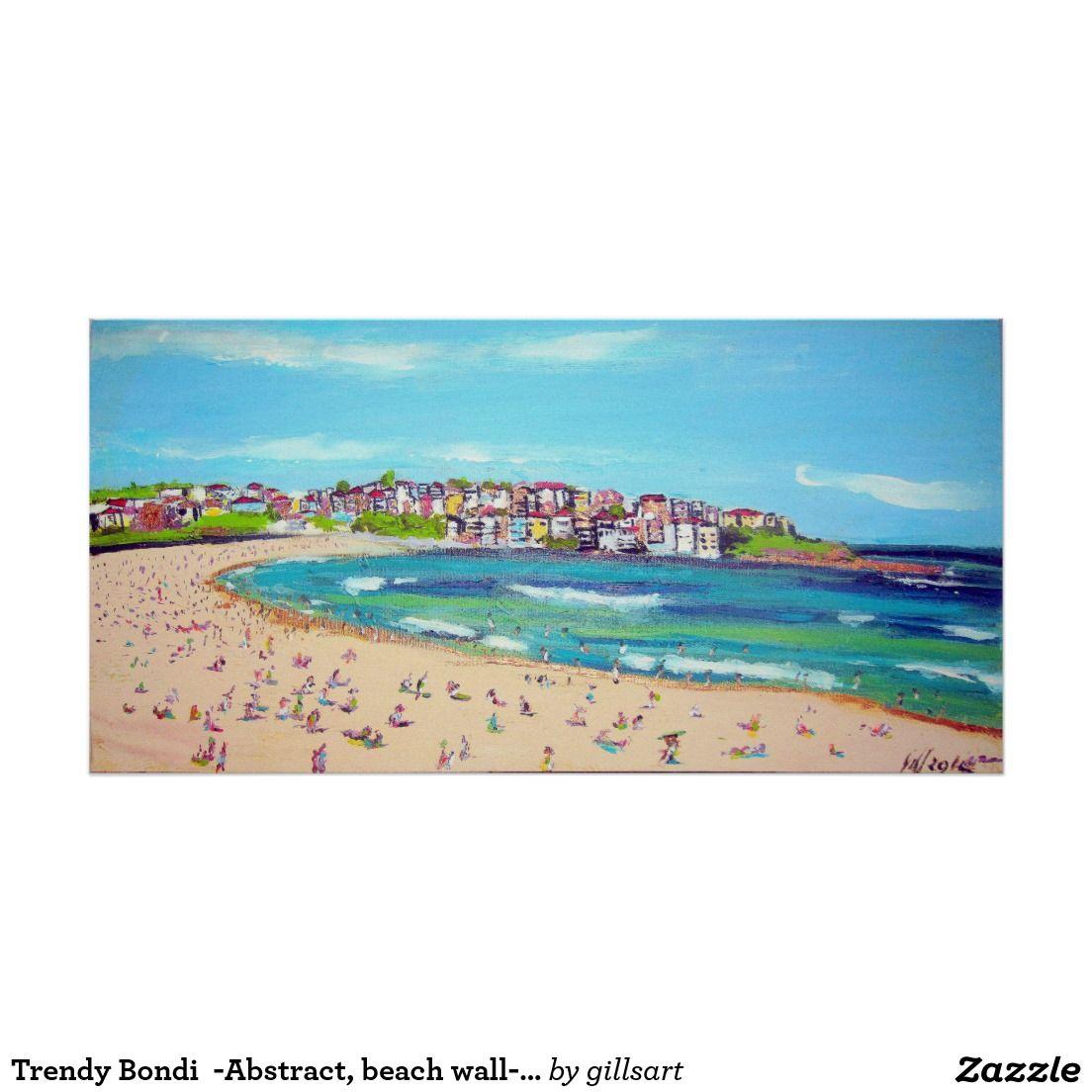 Trendy Bondi Abstract Beach Wall Art Painting Poster Zazzle