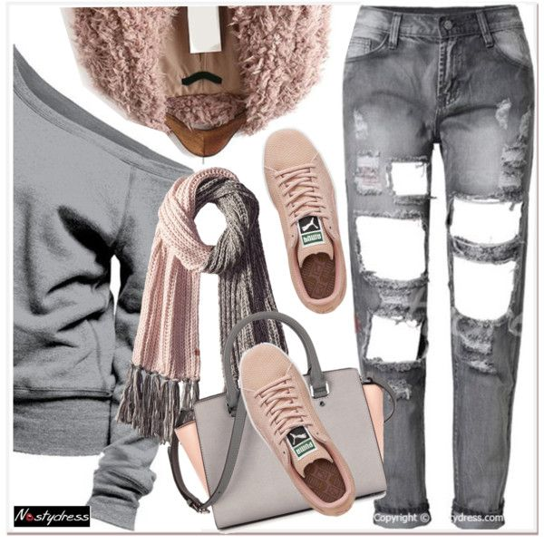 pastel winter by paculi on Polyvore featuring moda, Puma and Bickley + MItchell