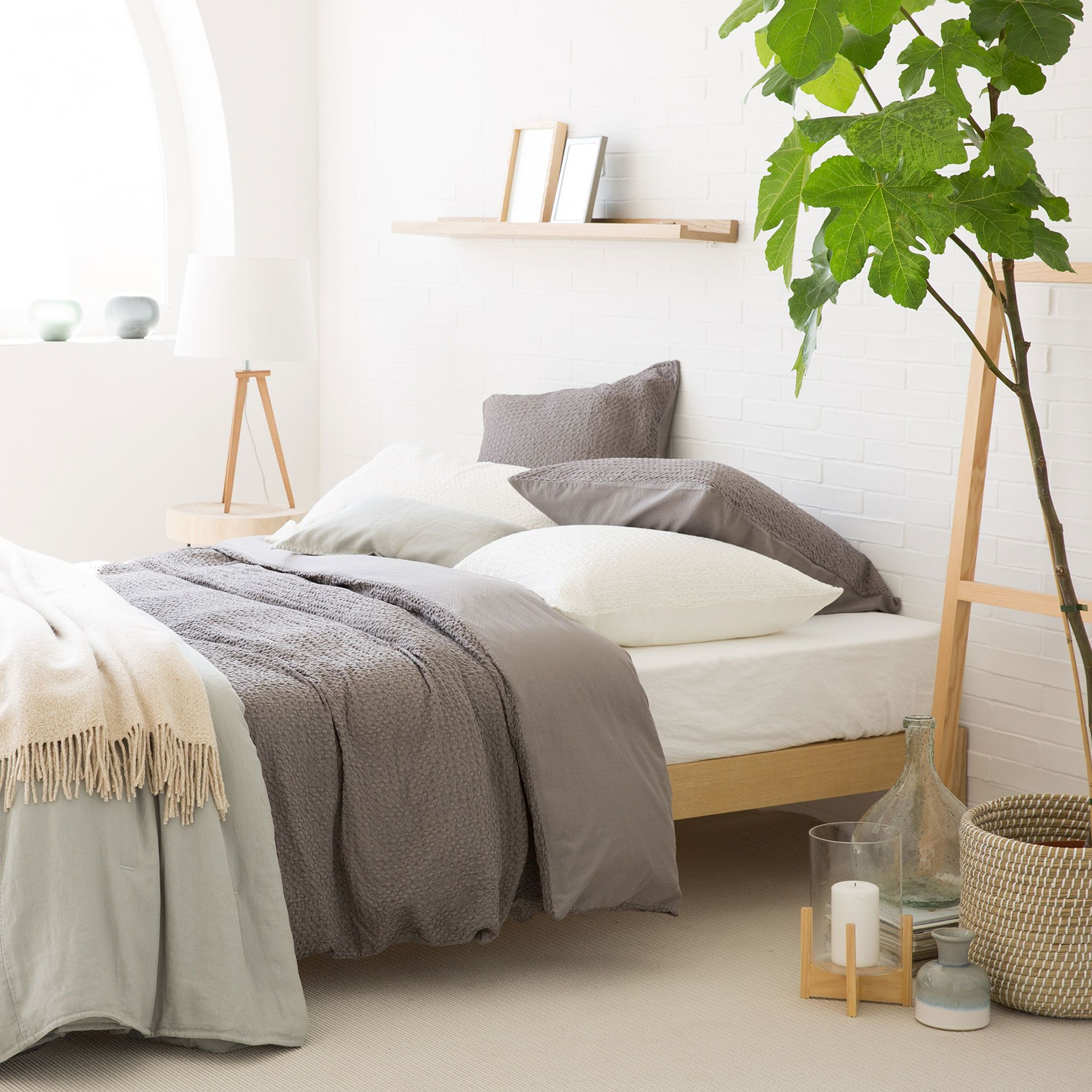 Grey Waffle Washed Percale Bed Linen