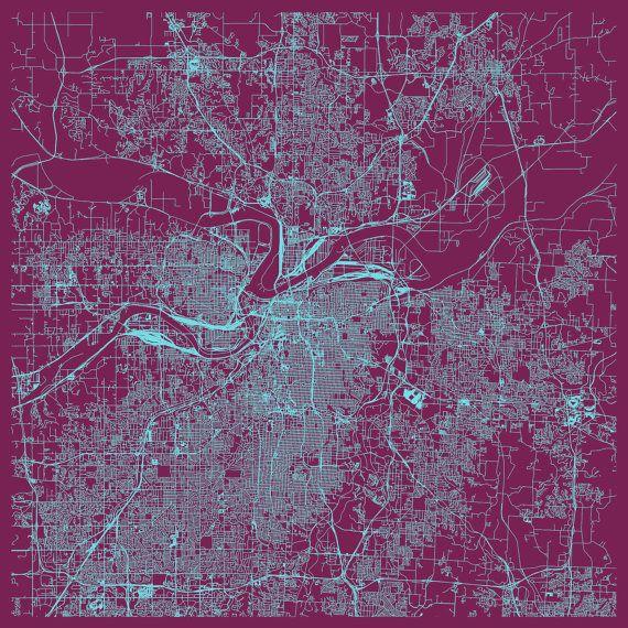 Kansas City Wall Art kansas city map - customizable colors, kansas city wall art, city