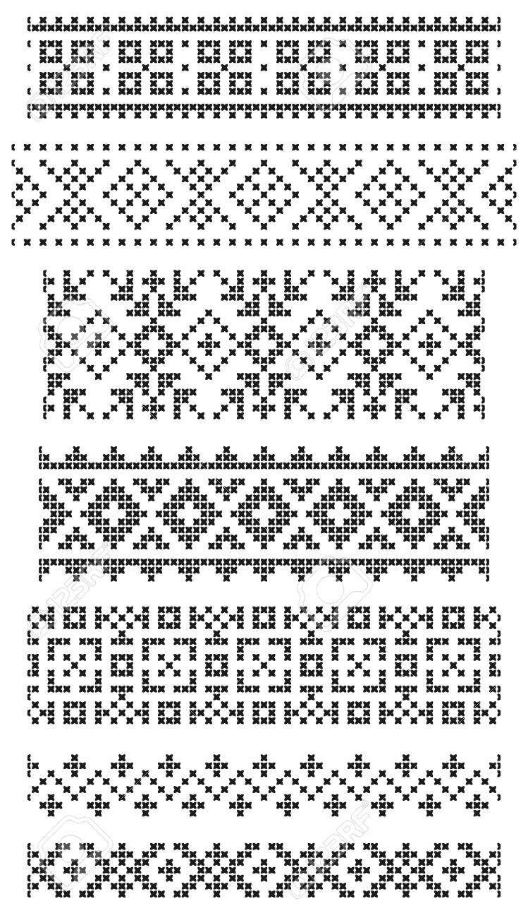 Ensemble de bordures géométriques sans soudure, broderie croisée   – Stricken