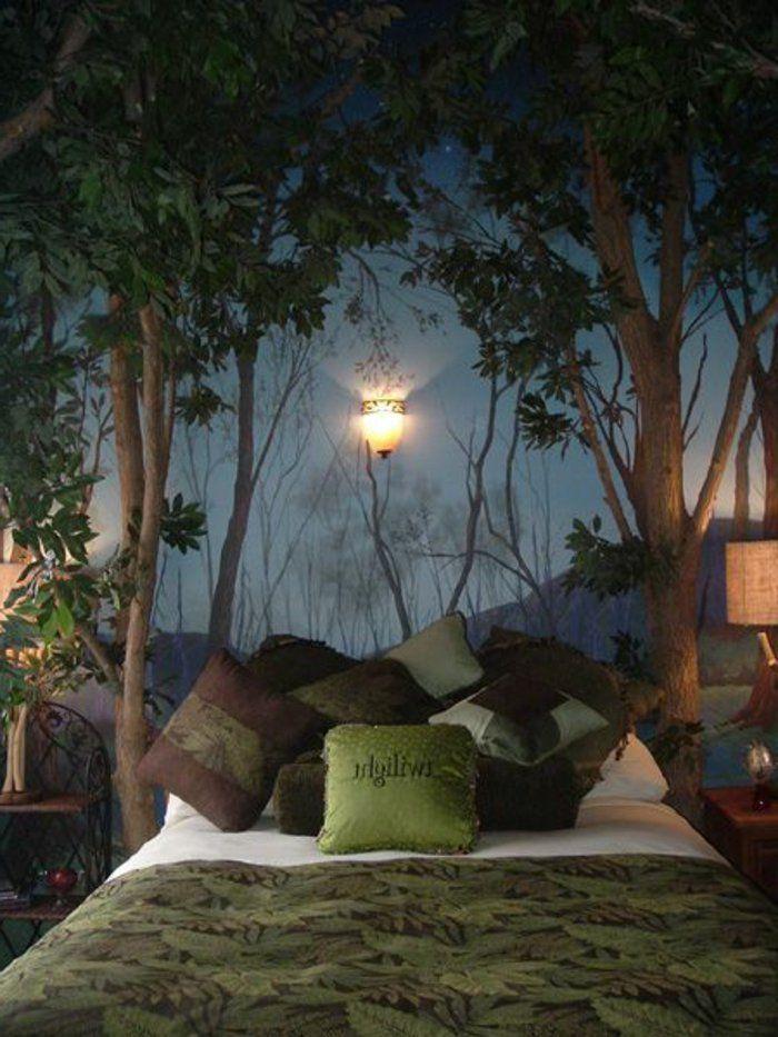 poster mural trompe l'oeil, linge de lit de couleur vert, linge de lit