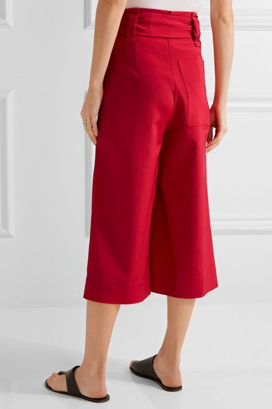 Tibi - Cropped Stretch-faille Wide-leg Pants - Red - US12