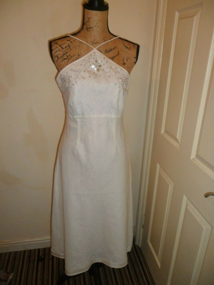 White Dress From Ebay Uk Whitedress Dress Ladies Dress Monsoon White Linen Lined Beaded Size 12 Ex Con 1 Dresses Floral Occasion Dresses Womens Dresses