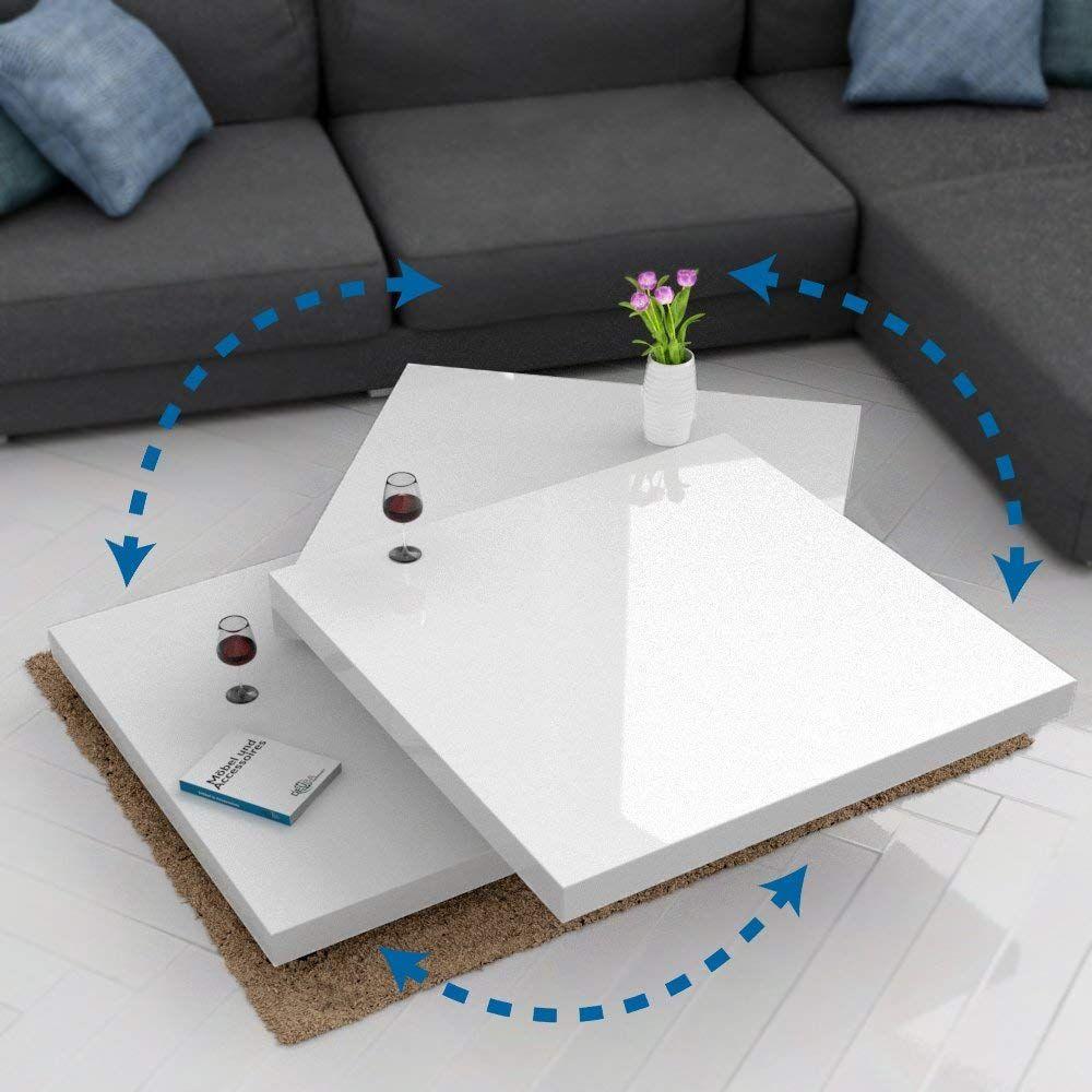 Deuba Table Basse De Salon Blanc Moderne Carre 80x80cm Laquee Brillante Rotative A 360 Charge Max 20 Kg Design I Table Basse Salon Salon Blanc Table De Salon