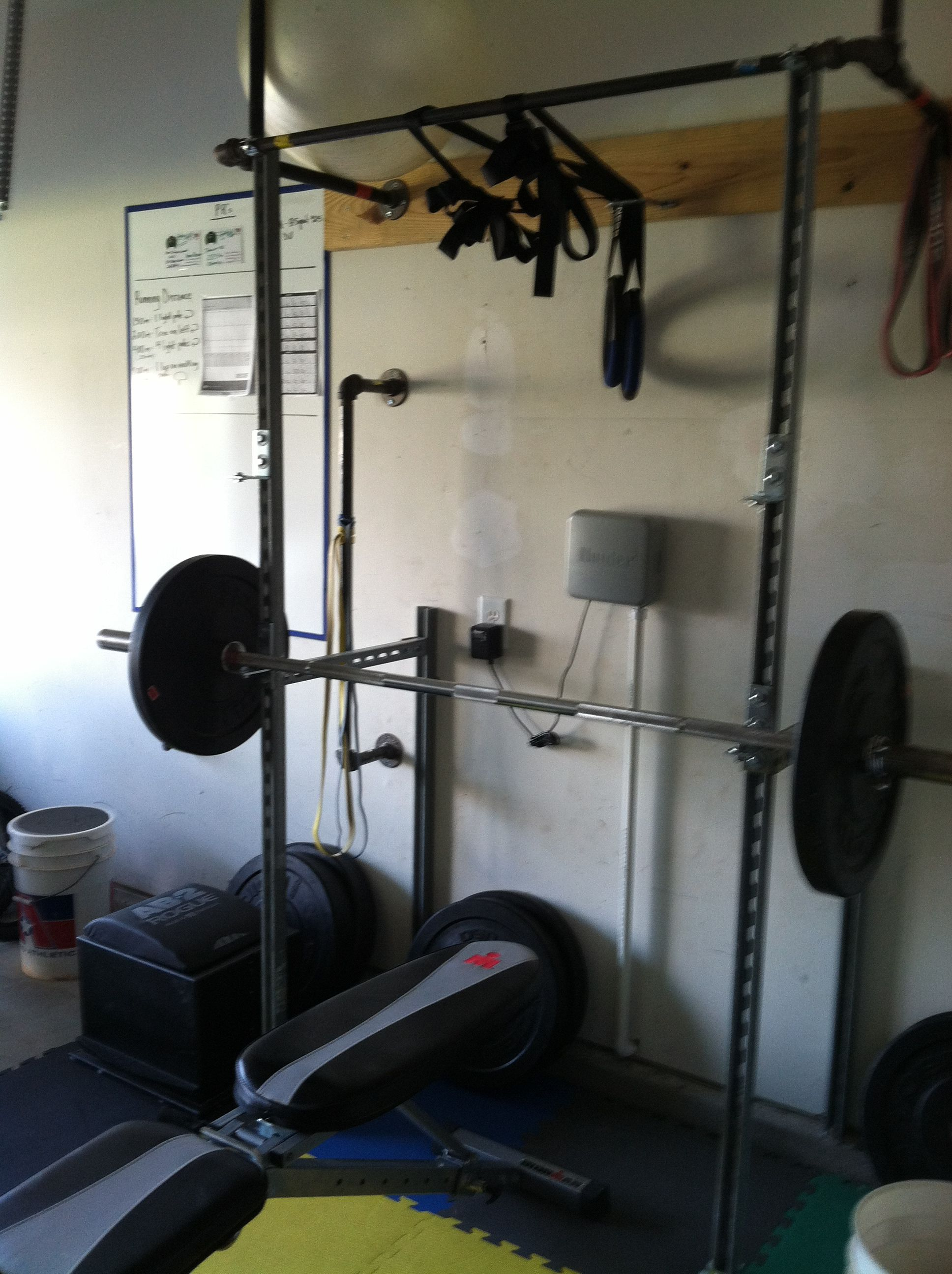 Homemade unistrut bench and squat rack w pullup bar unistrut