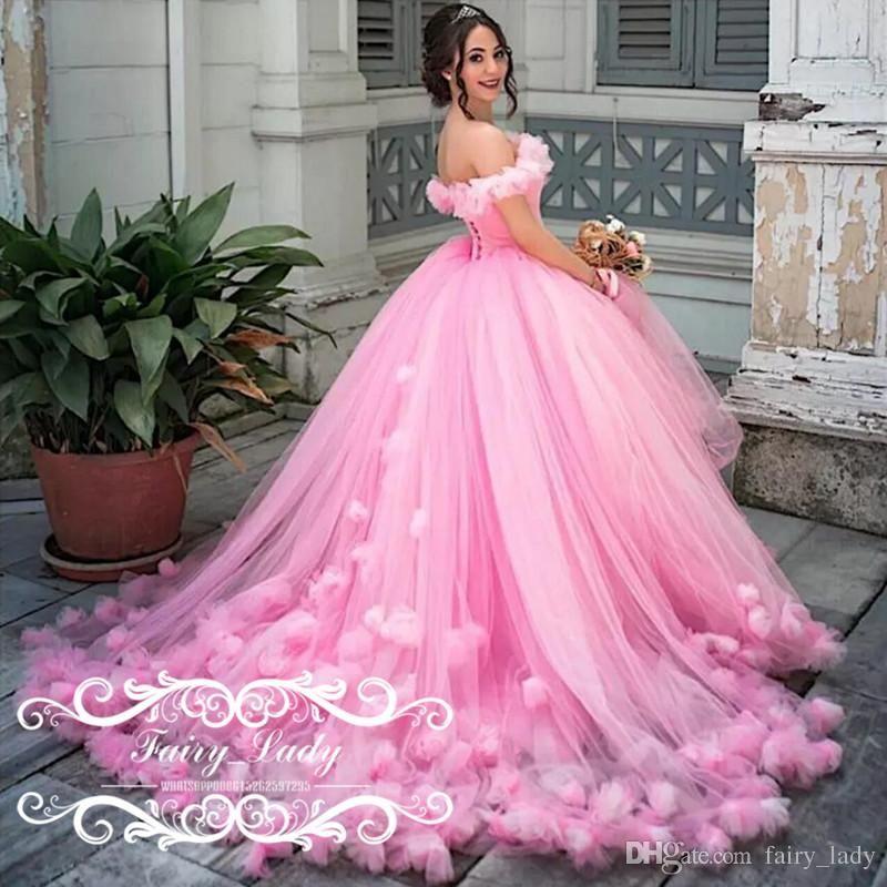 Gorgeous Handmade Flowers Off Shoulder Pink Wedding Dresses 2017 ...