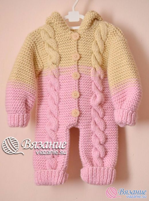 8e19cbc14 Cabled Baby Jumpsuit Knit Pattern. Sizes  0-3 months Materials  Yarn ...
