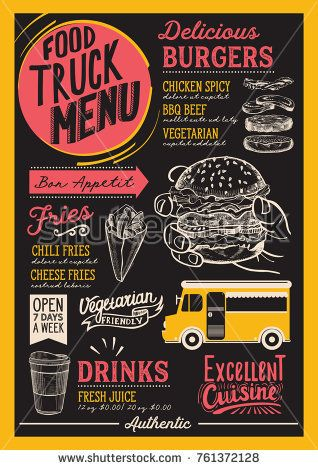 food truck menu for street festival design template with hand drawn