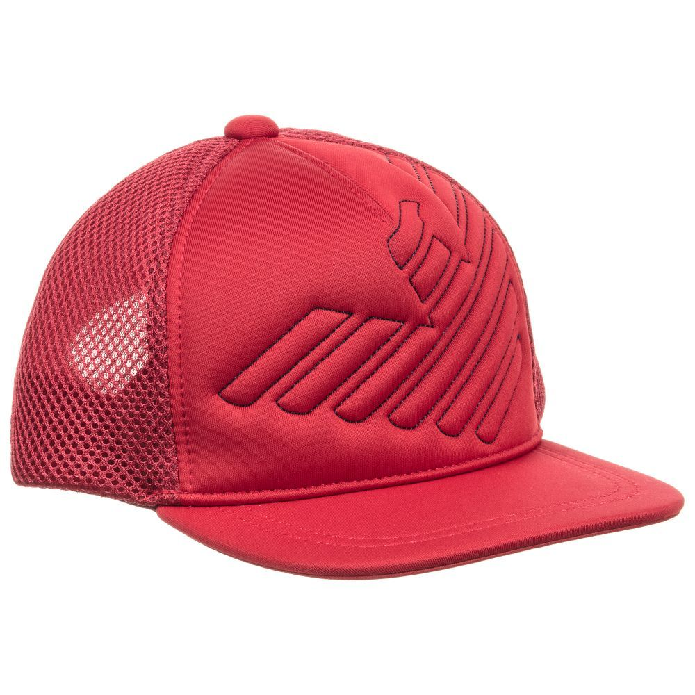 Boys Red Mesh Logo Cap for Boy by Emporio Armani. Discover the latest  designer Hats for kids online aae973767a00