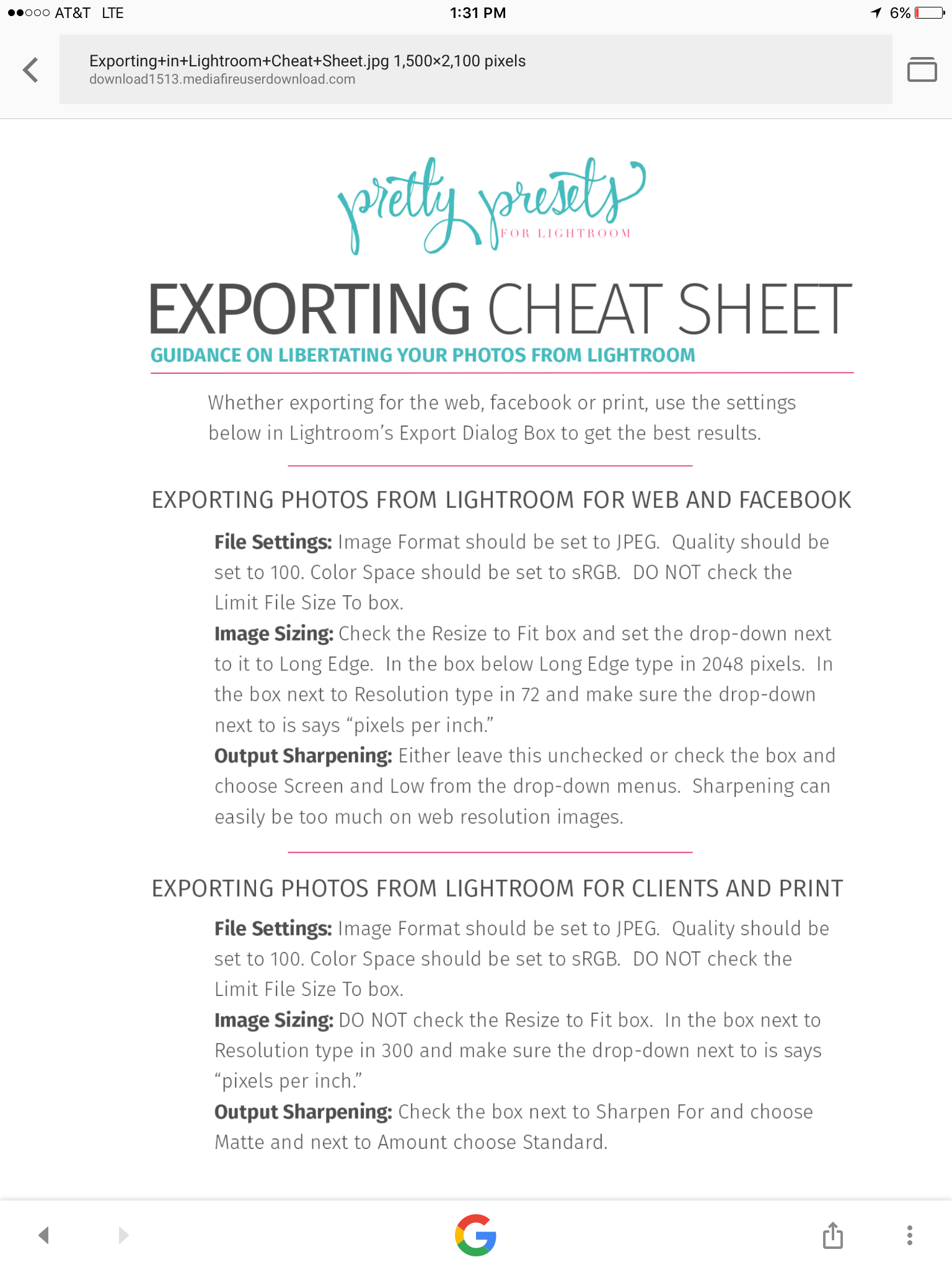 Lightroom export settings for web