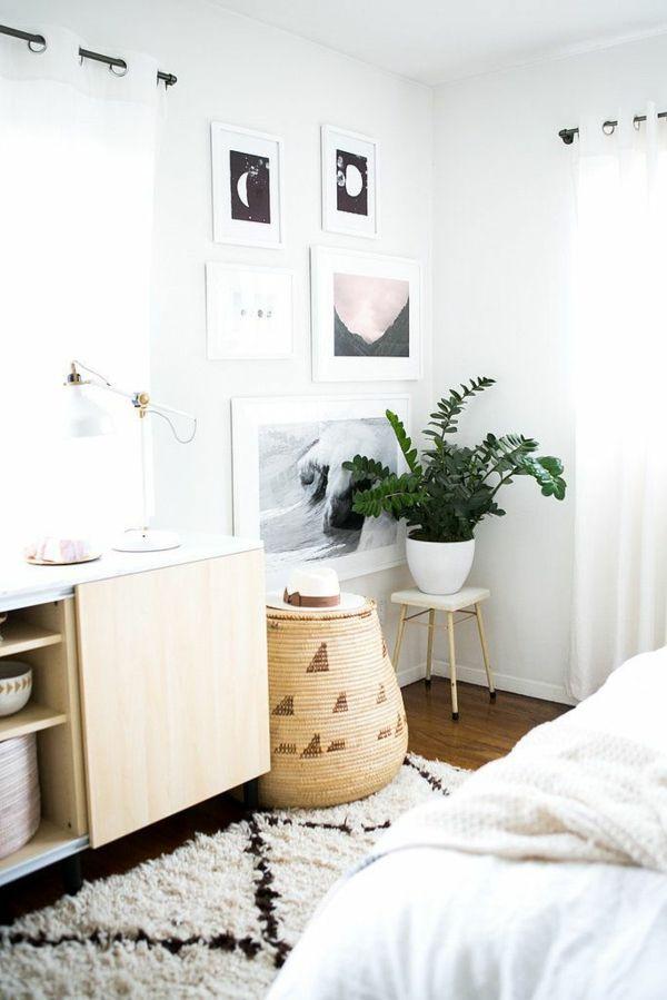 pflanzen im schlafzimmer glücksfeder topfpflanze Bett - schlafzimmer landhaus weiss