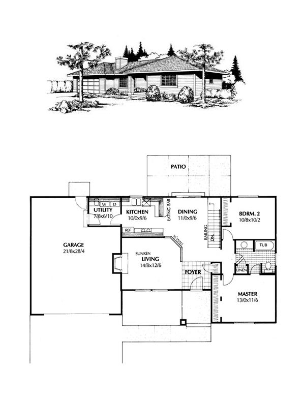 Southwest Style House Plan 91642 with 2 Bed, 1 Bath, 2 Car ... on south west climate, south west contemporary style homes, south west home plans, south west architecture,