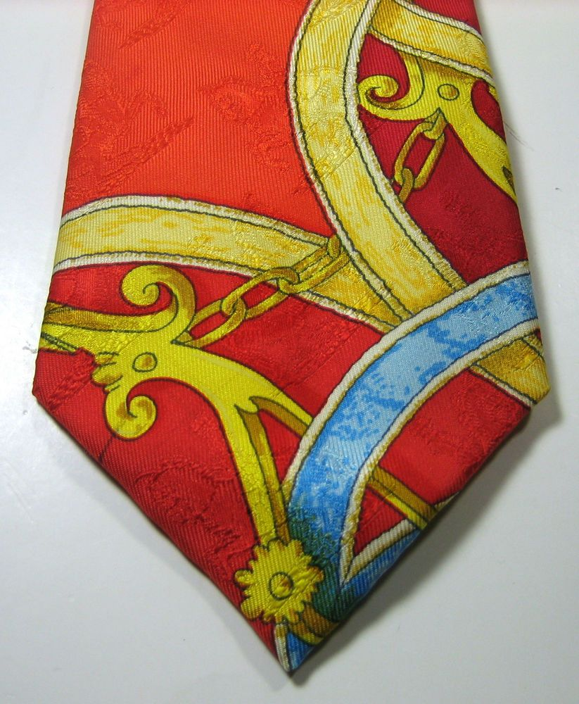 HERMES ULTRA RARE Rich Red Gold Blue Imprint Art Vtg 3-D  Tie 100% Silk RARE #Hermes #NeckTie
