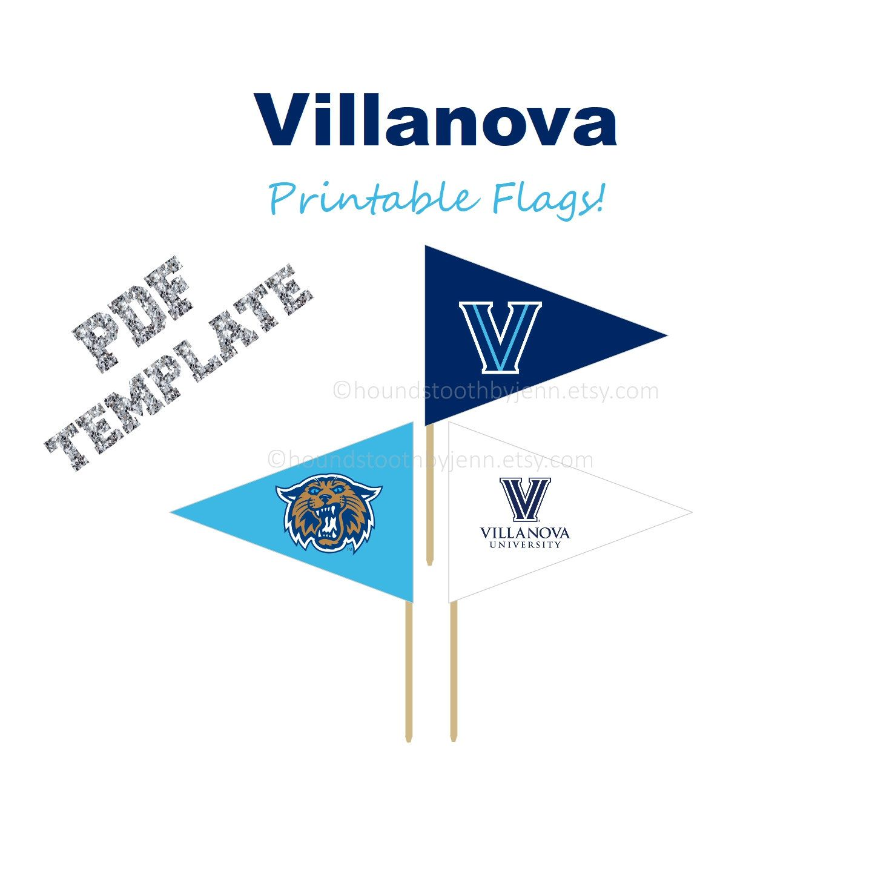 VILLANOVA WILDCATS Printable: University pennant flag