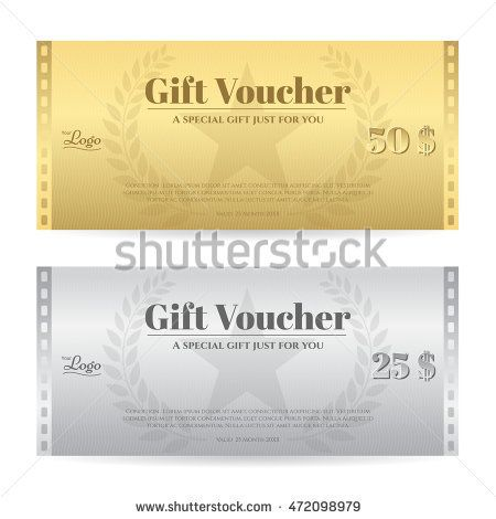 Elegance gift voucher or gift card in gold and silver color with - new restaurant gift certificate template free download