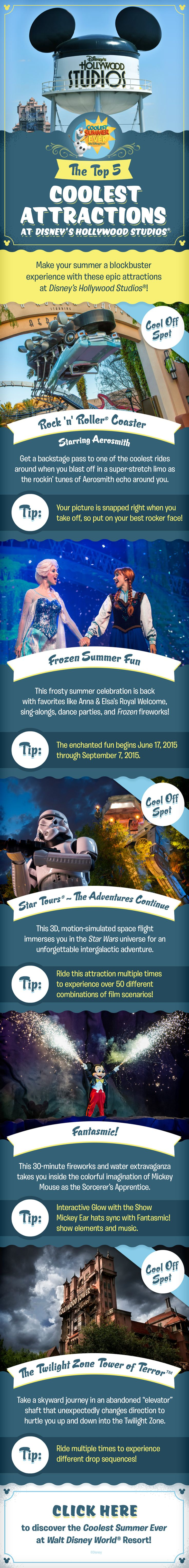 Check out the Top 5 Coolest Attractions at Disney's Hollywood Studios and get ready to have the Coolest Summer Ever as you plan your family vacation at Walt Disney World! Whether you are craving thrills on Rock 'n' Roller Coaster or Tower of Terror, looking travel the galaxy on Star Tours, or wanting to check out Fantasmic! and Frozen Summer Fun, there's something for everyone in your family to enjoy!