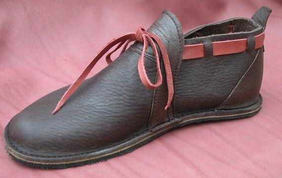 2012f4ed55e7b Handmade Custom Leather Shoes - Chocolate Brown & Red Bull Hide ...