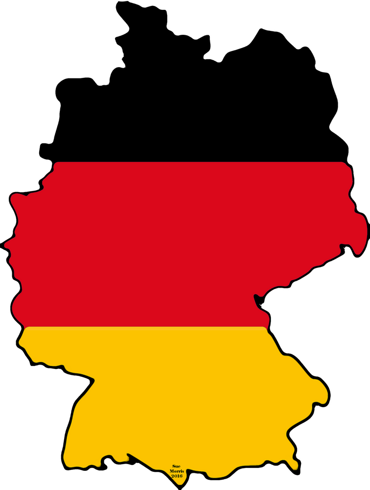 Germany Map With German Flag Sticker By Havocgirl White 3 X3 In 2020 Germany Map German Flag Germany