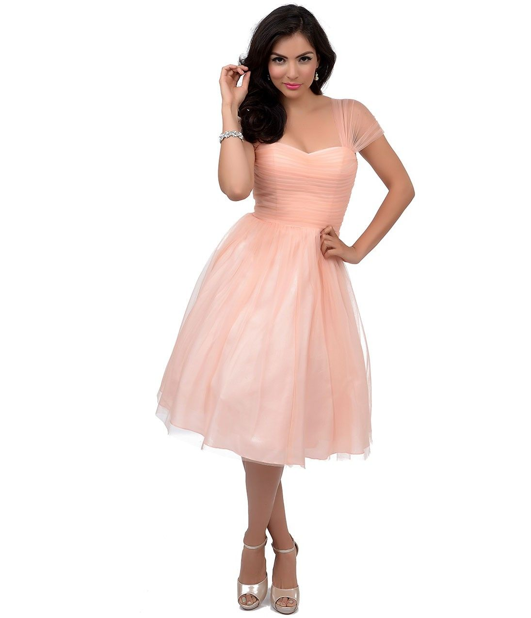 Unique Vintage Peach Garden State Mesh Cocktail Dress | Prom ...
