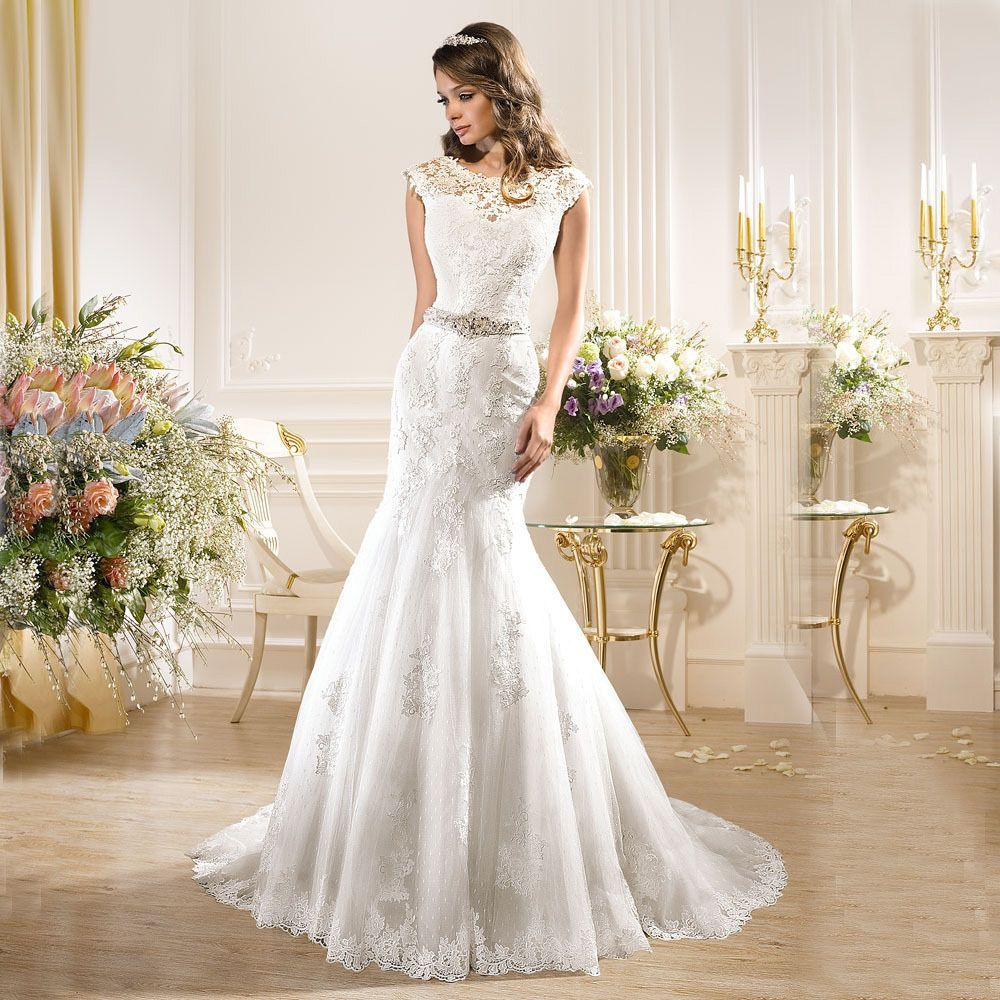 White mermaid wedding dress  Click to Buy ucuc Custom Made Trouwjurk White O Neck Wedding Dresses