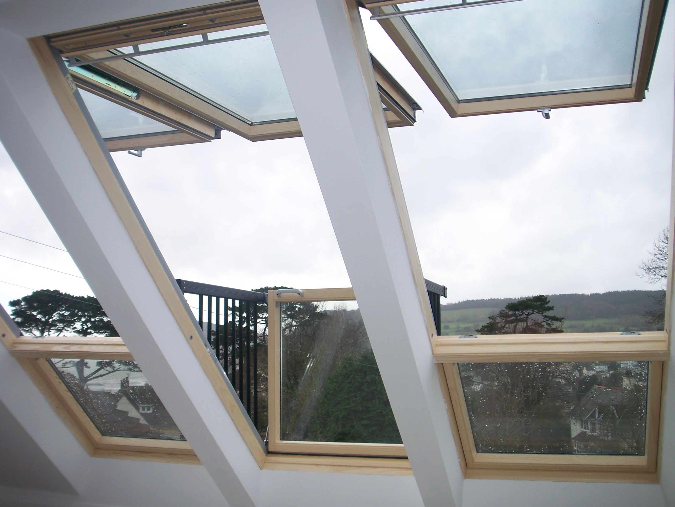 view out of cabrio linked velux loft roof window. Black Bedroom Furniture Sets. Home Design Ideas