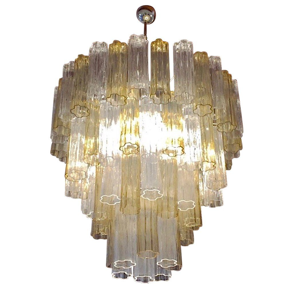 Italian Contemporary Amber Crystal Clear Murano Glass Tronchi