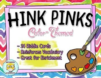These color-themed Hink Pink riddles are a great way to develop your students vocabulary skills, improve their knowledge of synonyms and multiple-meaning words, and challenge them to think critically.