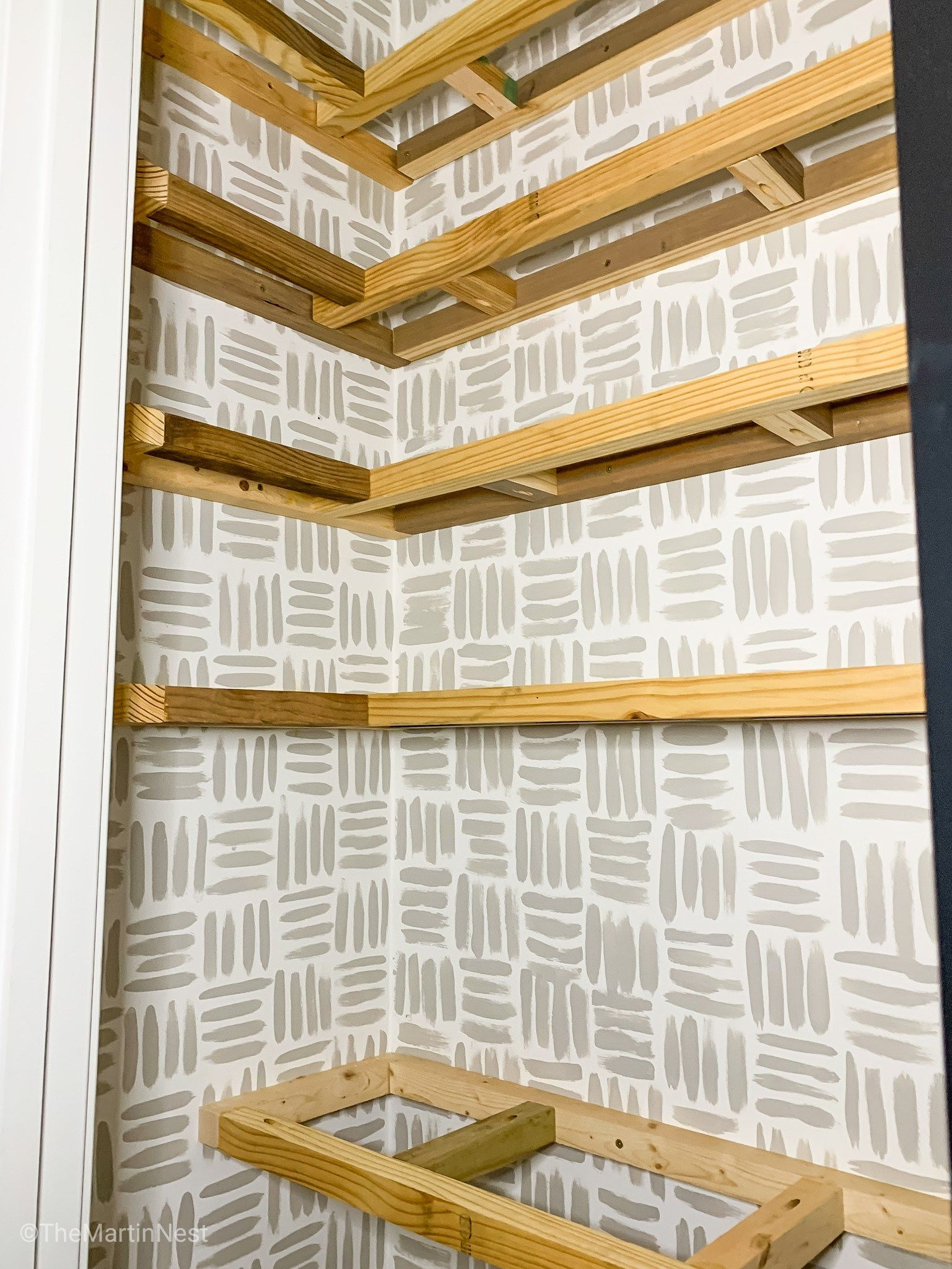 How to build floating corner pantry shelves