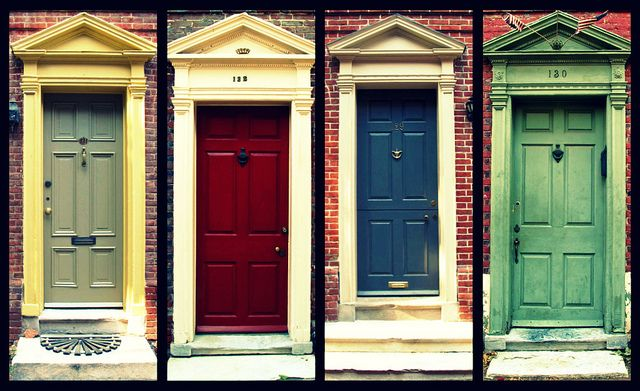 doors of elfreth's alley by shaggyshoo, via Flickr #ridecolorfully