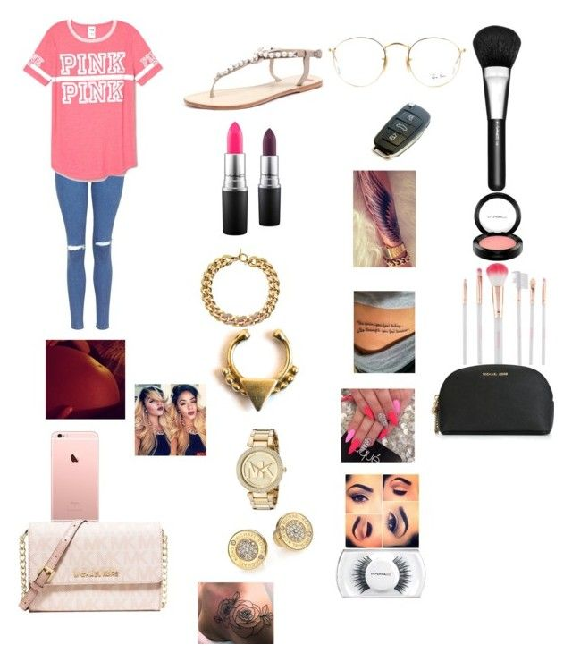 """""""It's a girl. """" by manija-jones ❤ liked on Polyvore featuring Topshop, Victoria's Secret PINK, MICHAEL Michael Kors, MAC Cosmetics, Michael Kors, Forever 21, Ray-Ban and Accessorize"""