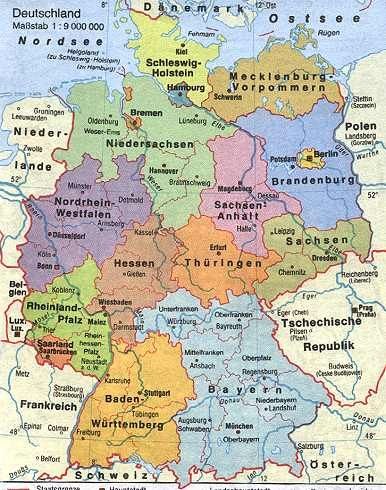 here is a map of todays germany with some of the old regional and political names be aware political entities in germany constantly changed through the