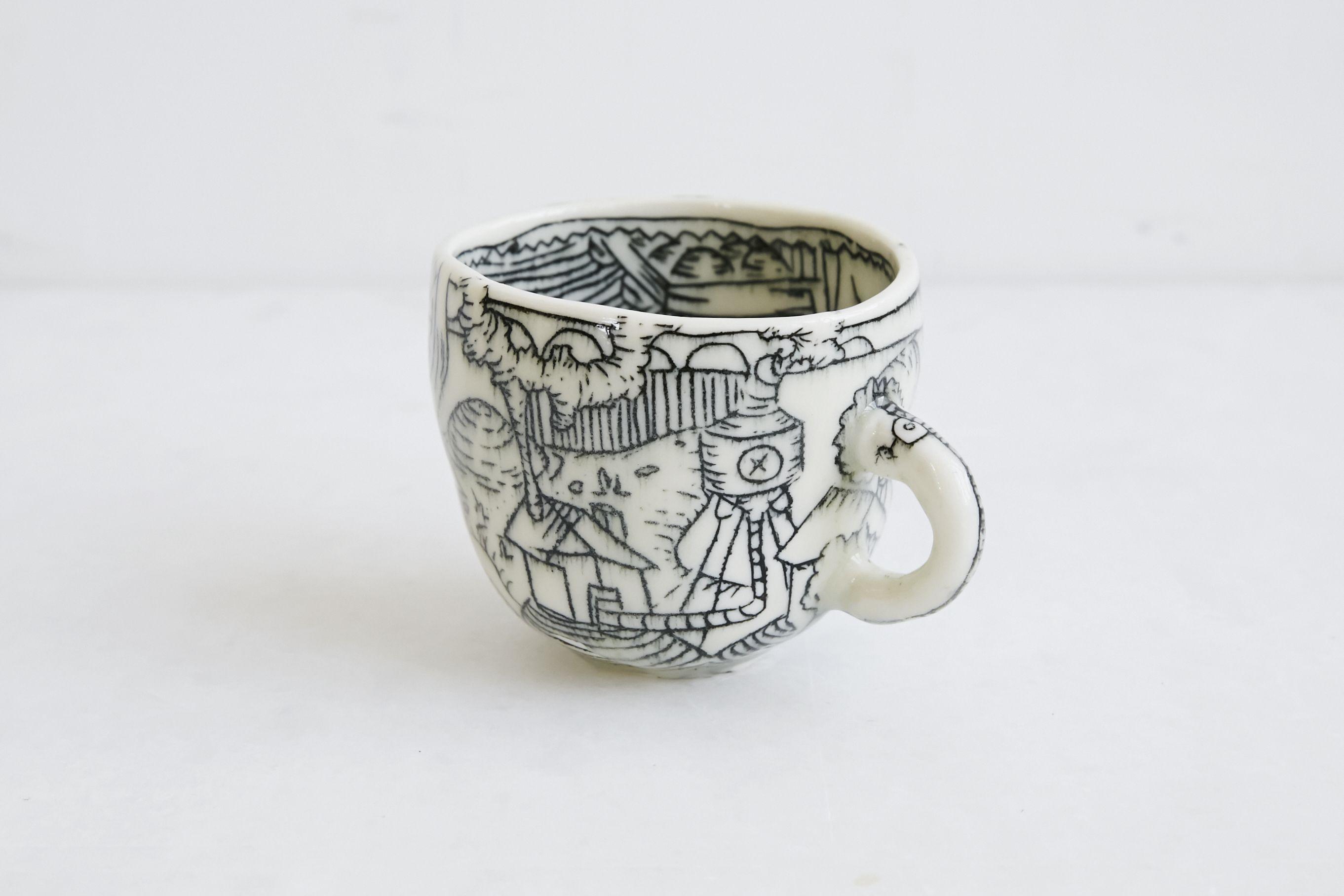 Handmade Porcelain Mug Inlay Illustrations Molly Bernstein